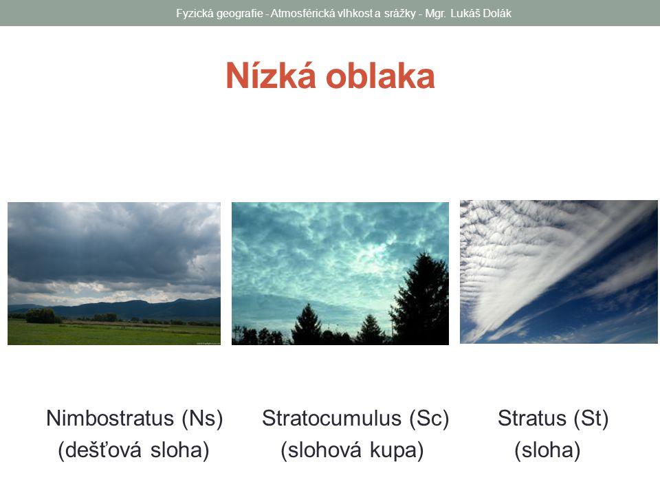 Nízká oblaka Nimbostratus (Ns) Stratocumulus (Sc) Stratus (St) (dešťová sloha) (slohová kupa) (sloha) Fyzická geografie - Atmosférická vlhkost a srážk