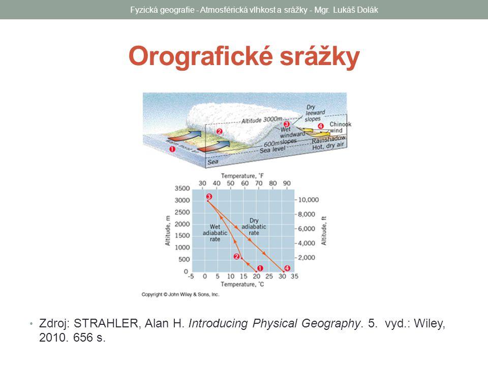Orografické srážky Zdroj: STRAHLER, Alan H. Introducing Physical Geography. 5. vyd.: Wiley, 2010. 656 s. Fyzická geografie - Atmosférická vlhkost a sr