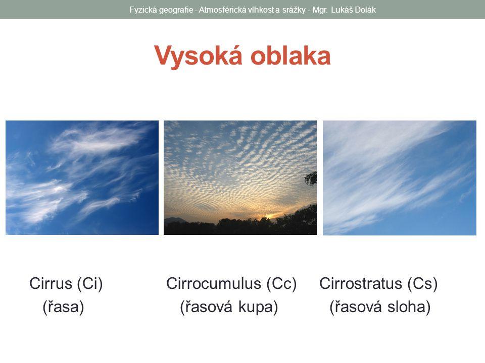 Střední oblaka Altocumulus (Ac) Altostratus (As) (vyvýšená kupa) (Vyvýšená sloha) Fyzická geografie - Atmosférická vlhkost a srážky - Mgr.