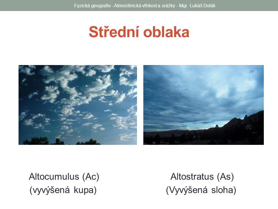Střední oblaka Altocumulus (Ac) Altostratus (As) (vyvýšená kupa) (Vyvýšená sloha) Fyzická geografie - Atmosférická vlhkost a srážky - Mgr. Lukáš Dolák