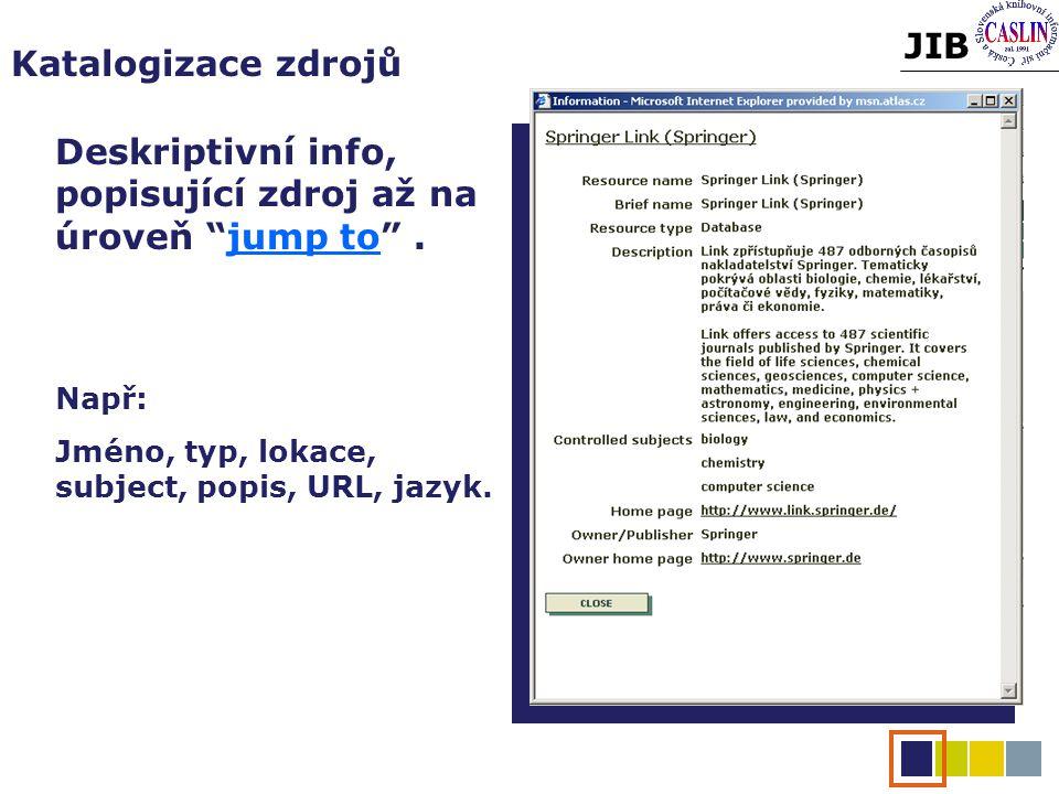 JIB Katalogizace zdrojů Deskriptivní info, popisující zdroj až na úroveň jump to .
