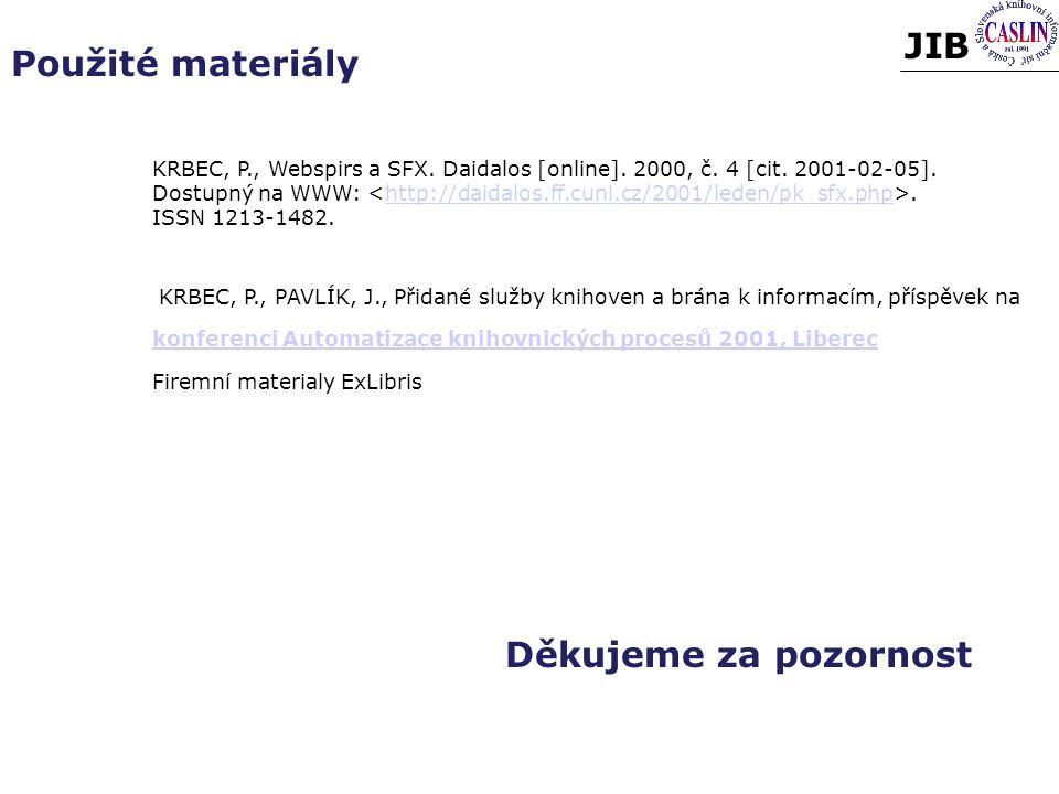Použité materiály Děkujeme za pozornost KRBEC, P., Webspirs a SFX.