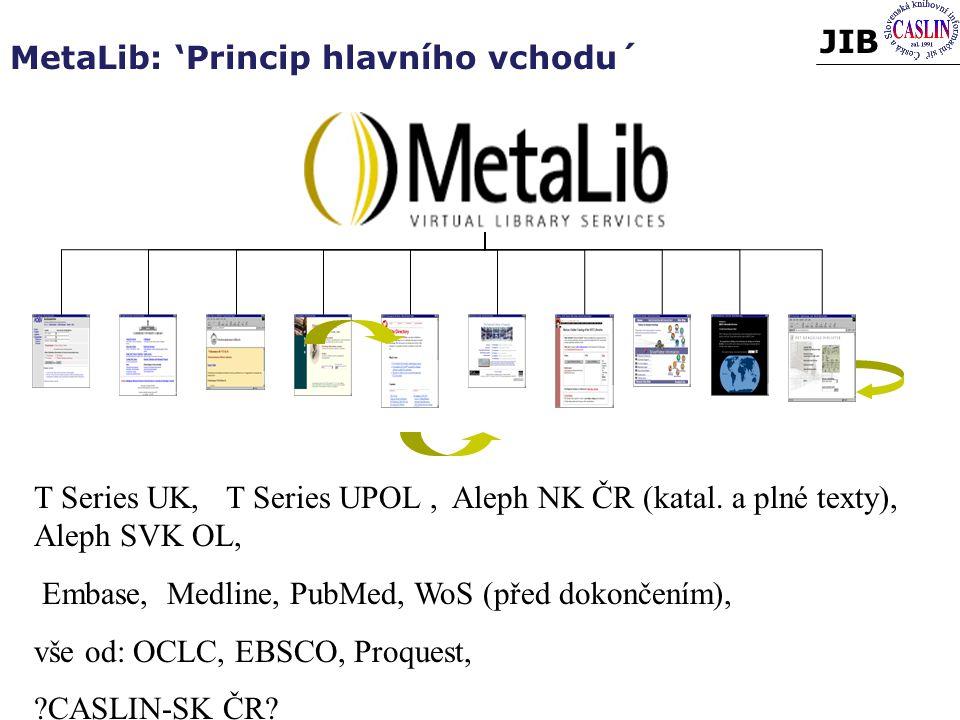 JIB MetaLib: 'Princip hlavního vchodu´ T Series UK,T Series UPOL, Aleph NK ČR (katal.