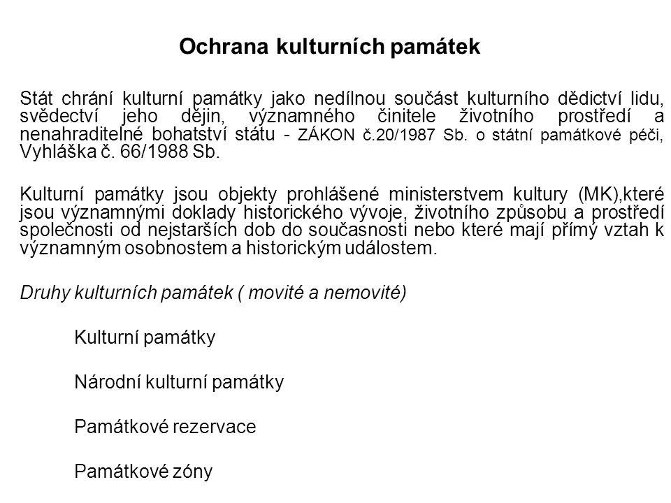 Orgány památkové péče Ministerstvo kultury krajské úřady obecní úřady obcí s rozšířenou působností.
