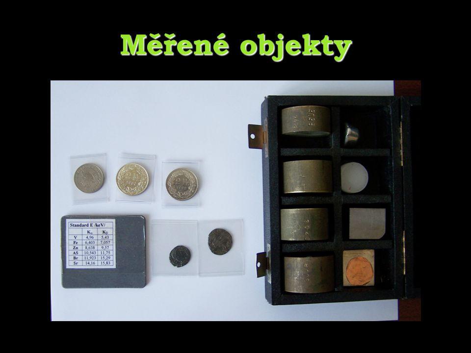 Kalibrace Prvekkanál[keV] V 1684,952 Fe 2186,403 Zn 2968,638 As 36210,543 Br 41011,923 Sr 48714,16 Proces přiřazení hodnoty energie jednotlivým kanálům Předchází samotnému měření