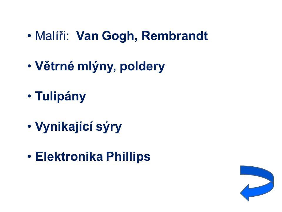 Malíři: Van Gogh, Rembrandt Větrné mlýny, poldery Tulipány Vynikající sýry Elektronika Phillips