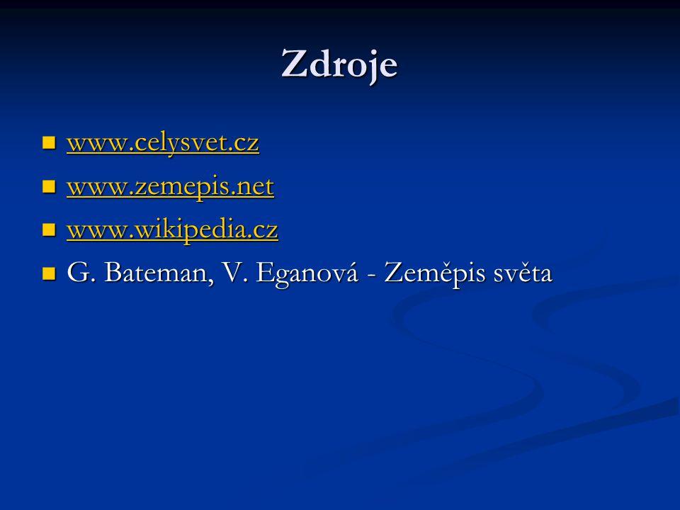 Zdroje www.celysvet.cz www.celysvet.cz www.celysvet.cz www.zemepis.net www.zemepis.net www.zemepis.net www.wikipedia.cz www.wikipedia.cz www.wikipedia