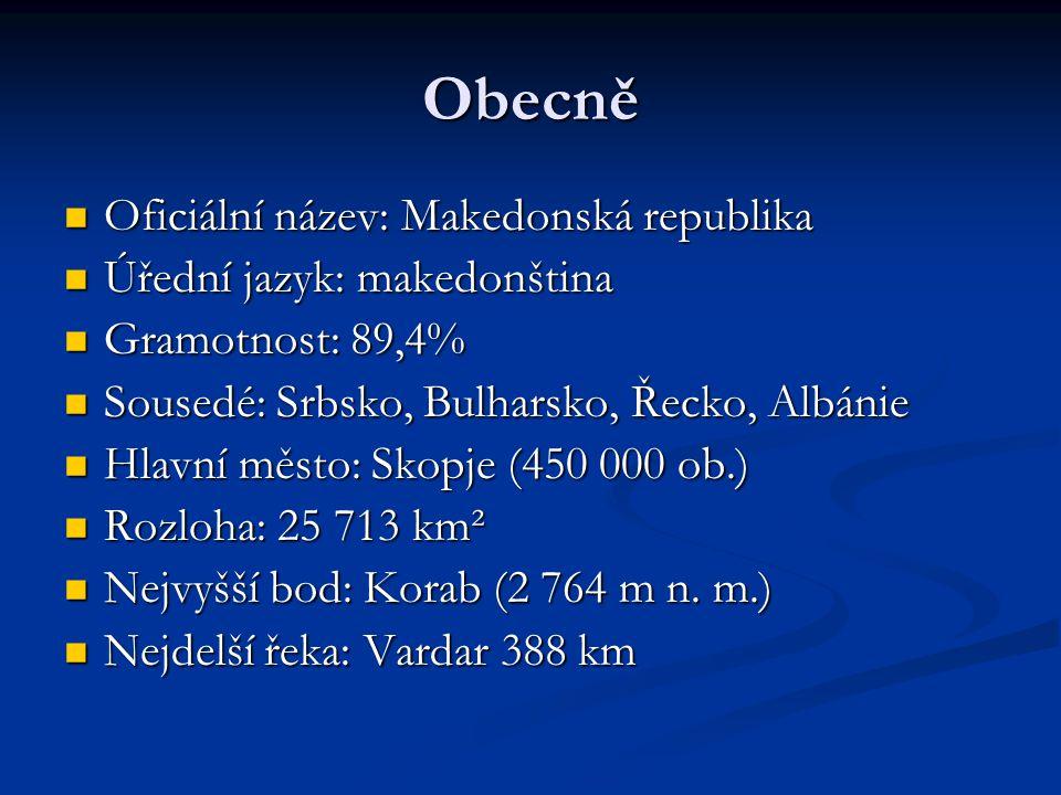 Přírodní poměry Většina území planina (600- 900 m n.m.) Většina území planina (600- 900 m n.m.) Četná pohoří: Korab, Šar Planiny, Kožuf, Baba, Karadžica Četná pohoří: Korab, Šar Planiny, Kožuf, Baba, Karadžica Zemi rozděluje hluboké údolí řeky Vardar Zemi rozděluje hluboké údolí řeky Vardar Jezera: Ohridské(349 km²), Prespanské(285 km²) Jezera: Ohridské(349 km²), Prespanské(285 km²) Lesy: pokrývají 37% plochy země Lesy: pokrývají 37% plochy země Klima: středozemní až kontinentální, v létě až Klima: středozemní až kontinentální, v létě až 40 °C, v zimě až -10 °C 40 °C, v zimě až -10 °C