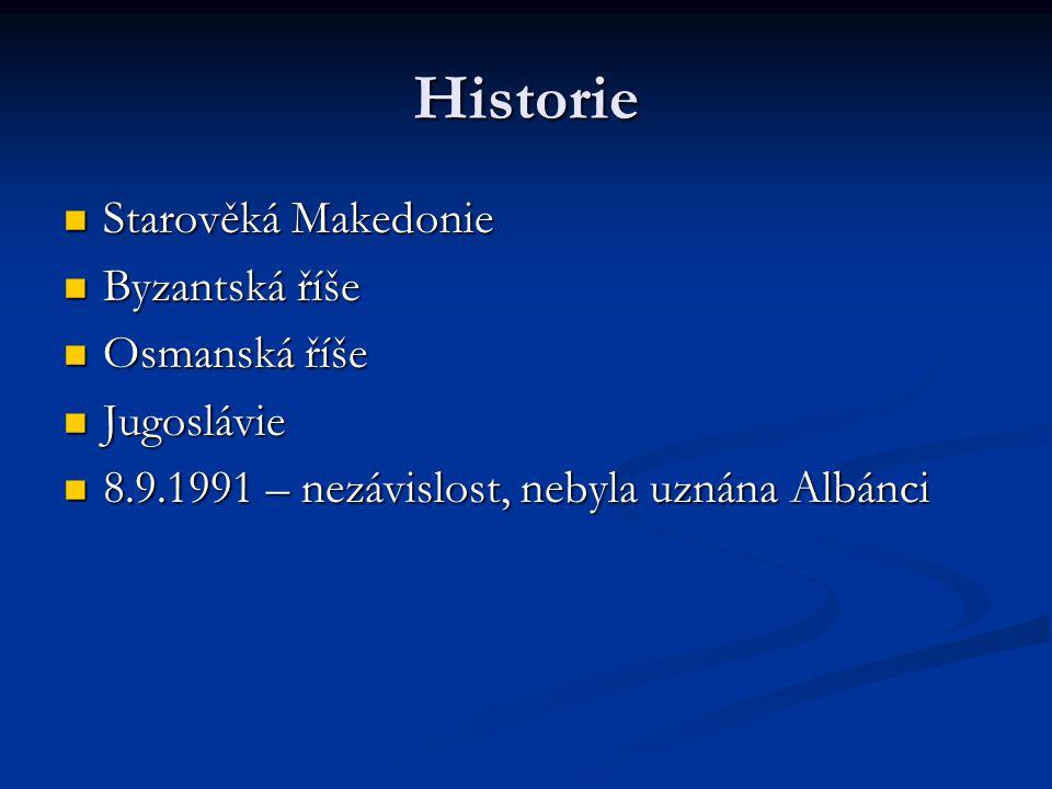 Politika Politický systém: republika Politický systém: republika Prezident: Branko Crvenkovski Prezident: Branko Crvenkovski Premiér: Nikola Gruevski Premiér: Nikola Gruevski Prezident je volen jednou za 5 let, může být zvolen nejvýše dvakrát Prezident je volen jednou za 5 let, může být zvolen nejvýše dvakrát Členství: OSN, CE, OBSE Členství: OSN, CE, OBSE