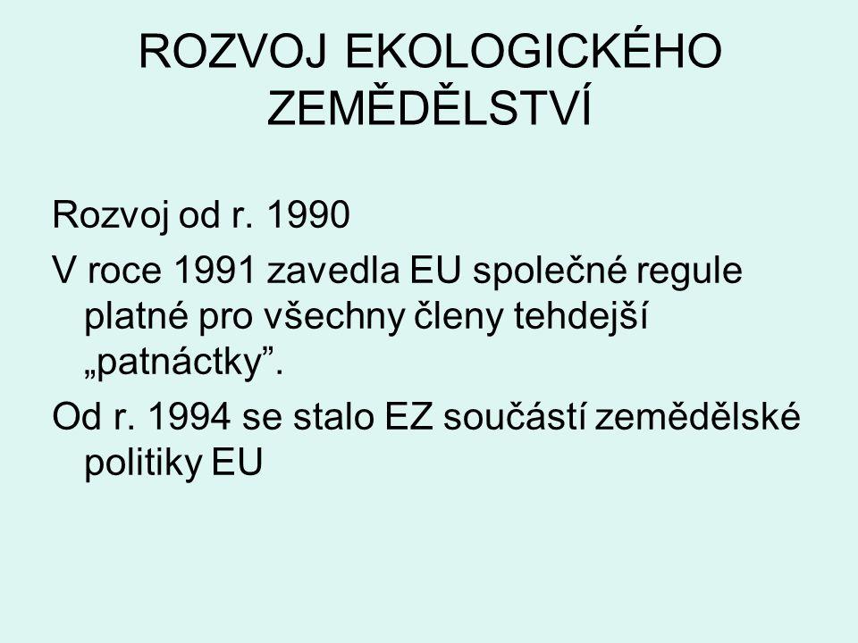Vývoj výměry zem.půdy a počtu farem v EZ RokPočet podniků celkem Výměra zem.