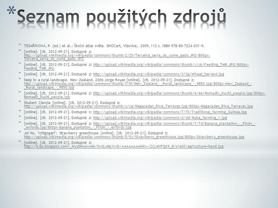 * TESAŘÍKOVÁ, P. (ed.) et al.: Školní atlas světa. SHOCart, Vizovice, 2009, 112 s. ISBN 978-80-7224-031-9. * [online]. [cit. 2012-09-21]. Dostupné z: