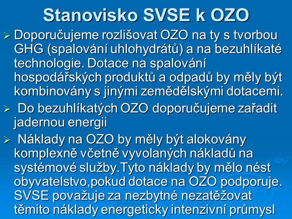 Stanovisko SVSE k OZO  Doporučujeme rozlišovat OZO na ty s tvorbou GHG (spalování uhlohydrátů) a na bezuhlíkaté technologie.
