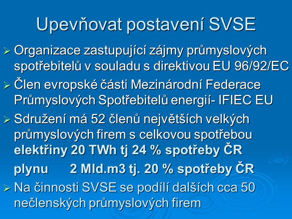 Upevňovat postavení SVSE  Organizace zastupující zájmy průmyslových spotřebitelů v souladu s direktivou EU 96/92/EC  Člen evropské části Mezinárodní Federace Průmyslových Spotřebitelů energií- IFIEC EU  Sdružení má 52 členů největších velkých průmyslových firem s celkovou spotřebou elektřiny 20 TWh tj 24 % spotřeby ČR plynu 2 Mld.m3 tj.