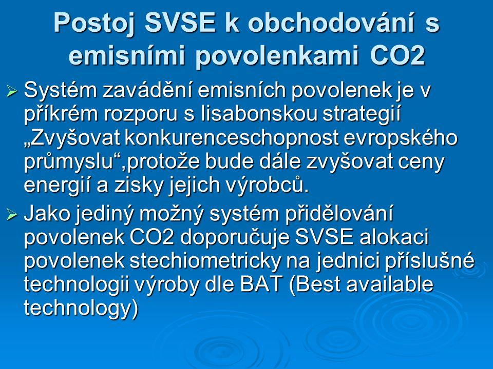"""Postoj SVSE k obchodování s emisními povolenkami CO2  Systém zavádění emisních povolenek je v příkrém rozporu s lisabonskou strategií """"Zvyšovat konkurenceschopnost evropského průmyslu ,protože bude dále zvyšovat ceny energií a zisky jejich výrobců."""