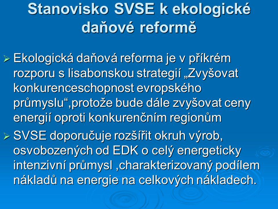 """Stanovisko SVSE k ekologické daňové reformě  Ekologická daňová reforma je v příkrém rozporu s lisabonskou strategií """"Zvyšovat konkurenceschopnost evropského průmyslu ,protože bude dále zvyšovat ceny energií oproti konkurenčním regionům  SVSE doporučuje rozšířit okruh výrob, osvobozených od EDK o celý energeticky intenzivní průmysl,charakterizovaný podílem nákladů na energie na celkových nákladech."""