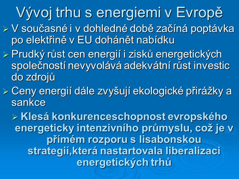 Vývoj trhu s energiemi v Evropě  V současné i v dohledné době začíná poptávka po elektřině v EU dohánět nabídku  Prudký růst cen energií i zisků energetických společností nevyvolává adekvátní růst investic do zdrojů  Ceny energií dále zvyšují ekologické přirážky a sankce  Klesá konkurenceschopnost evropského energeticky intenzivního průmyslu, což je v přímém rozporu s lisabonskou strategií,která nastartovala liberalizaci energetických trhů