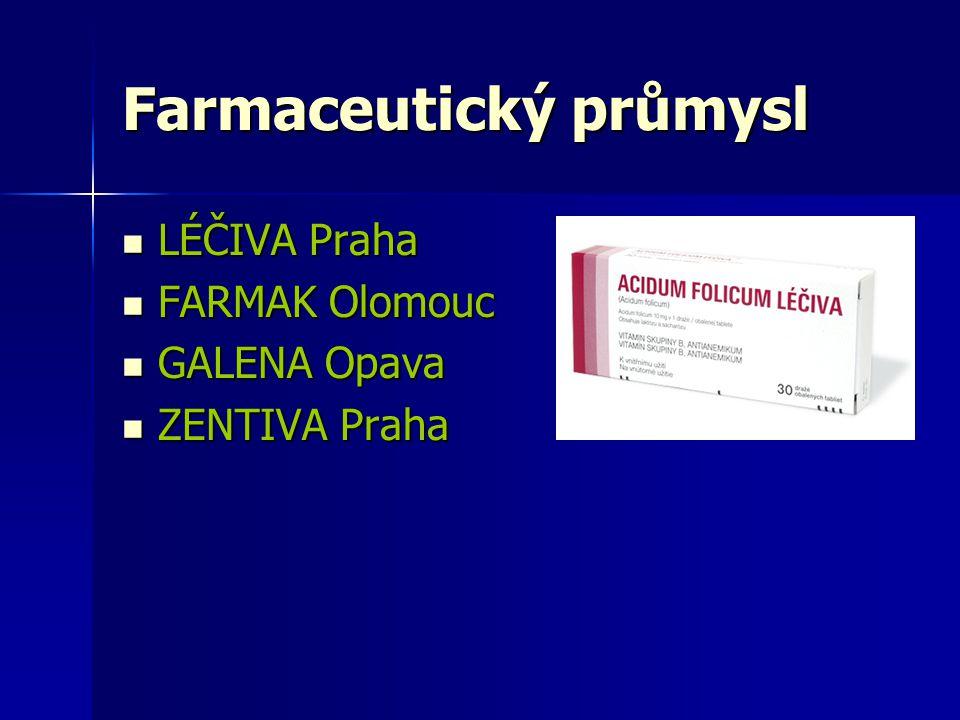 Farmaceutický průmysl LÉČIVA Praha LÉČIVA Praha FARMAK Olomouc FARMAK Olomouc GALENA Opava GALENA Opava ZENTIVA Praha ZENTIVA Praha