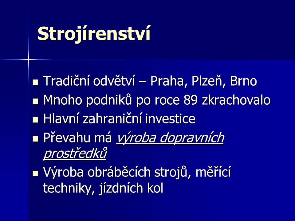 Strojírenství Tradiční odvětví – Praha, Plzeň, Brno Tradiční odvětví – Praha, Plzeň, Brno Mnoho podniků po roce 89 zkrachovalo Mnoho podniků po roce 8