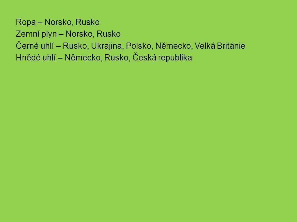 Ropa – Norsko, Rusko Zemní plyn – Norsko, Rusko Černé uhlí – Rusko, Ukrajina, Polsko, Německo, Velká Británie Hnědé uhlí – Německo, Rusko, Česká republika