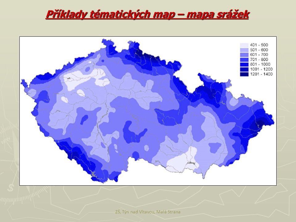ZŠ, Týn nad Vltavou, Malá Strana Příklady tématických map – mapa srážek