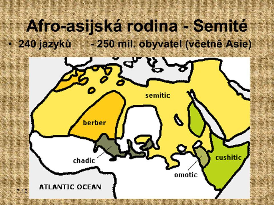 7.12.2004Zdeněk Bergman, G Teplice Afro-asijská rodina - Semité 240 jazyků- 250 mil.