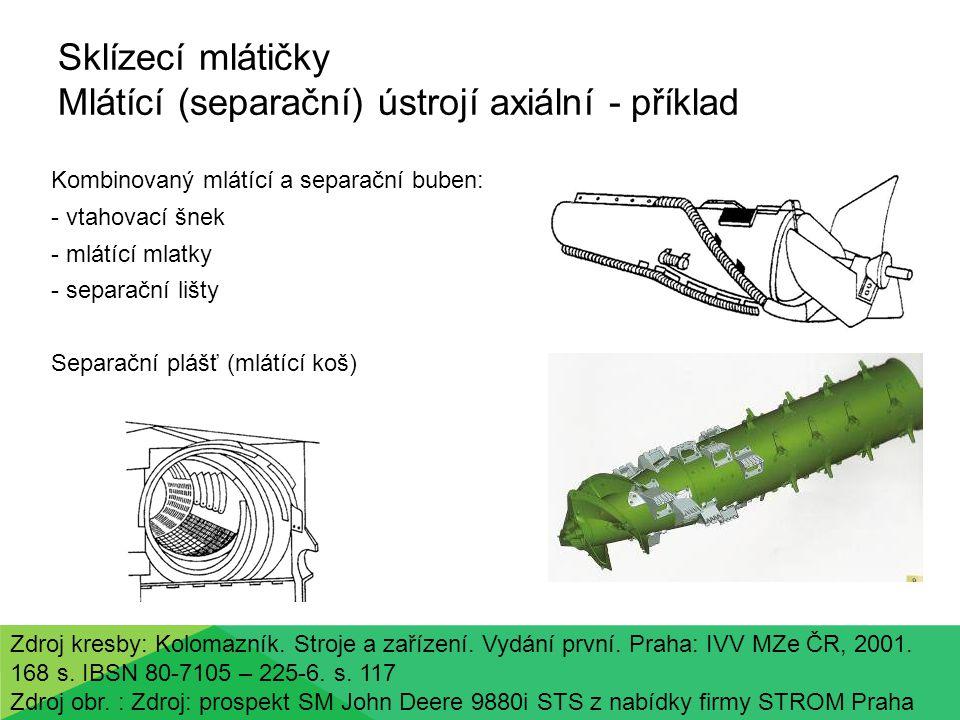 Sklízecí mlátičky Mlátící (separační) ústrojí axiální - příklad Kombinovaný mlátící a separační buben: - vtahovací šnek - mlátící mlatky - separační lišty Separační plášť (mlátící koš) Zdroj kresby: Kolomazník.