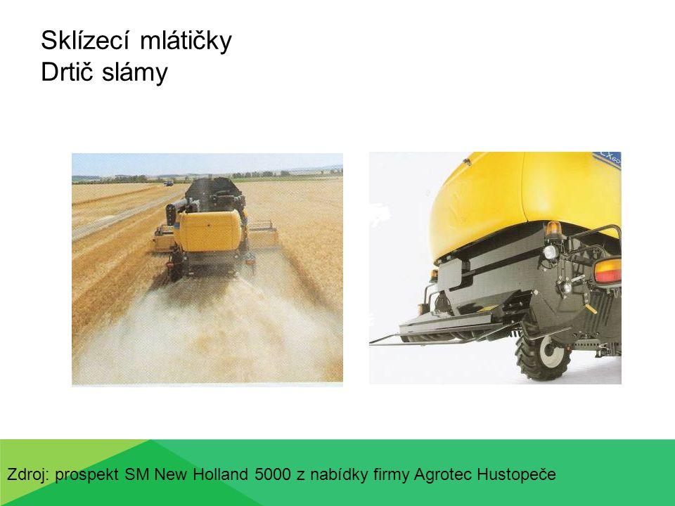 Sklízecí mlátičky Drtič slámy Zdroj: prospekt SM New Holland 5000 z nabídky firmy Agrotec Hustopeče