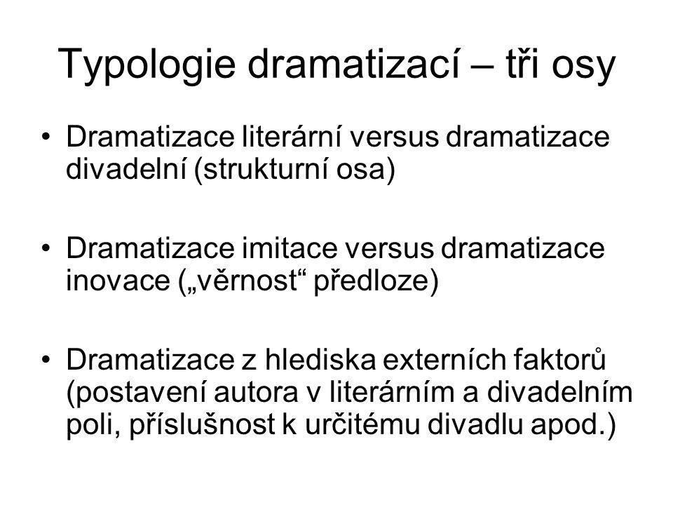 """Typologie dramatizací – tři osy Dramatizace literární versus dramatizace divadelní (strukturní osa) Dramatizace imitace versus dramatizace inovace (""""věrnost předloze) Dramatizace z hlediska externích faktorů (postavení autora v literárním a divadelním poli, příslušnost k určitému divadlu apod.)"""
