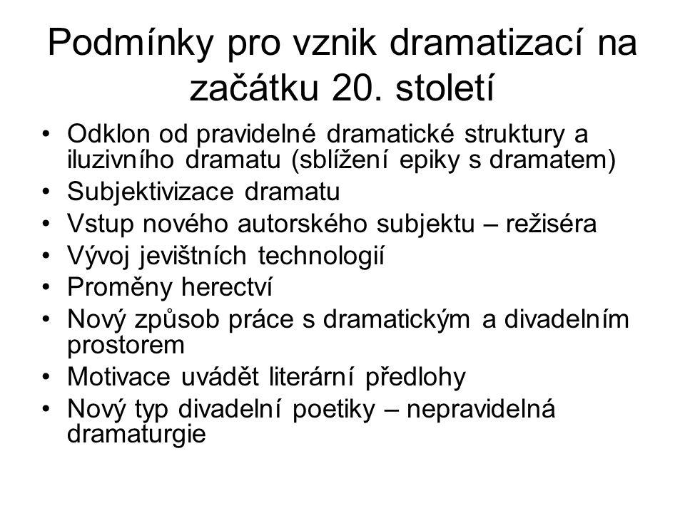 Podmínky pro vznik dramatizací na začátku 20.