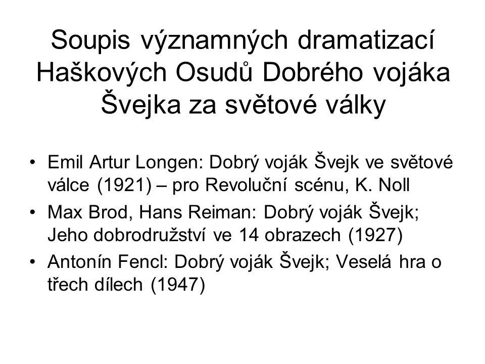 Soupis významných dramatizací Haškových Osudů Dobrého vojáka Švejka za světové války Emil Artur Longen: Dobrý voják Švejk ve světové válce (1921) – pro Revoluční scénu, K.