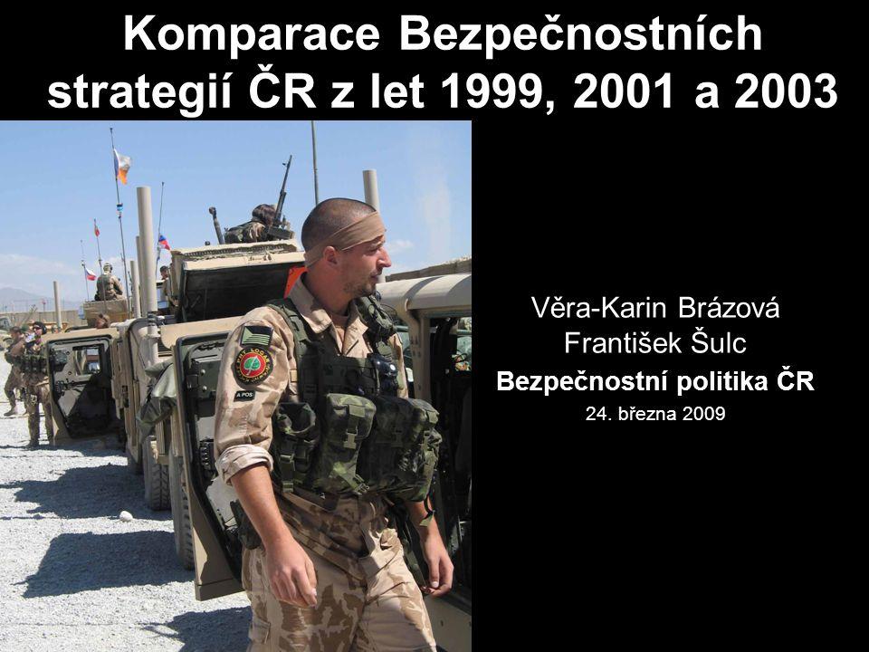 Komparace Bezpečnostních strategií ČR z let 1999, 2001 a 2003 Věra-Karin Brázová František Šulc Bezpečnostní politika ČR 24. března 2009