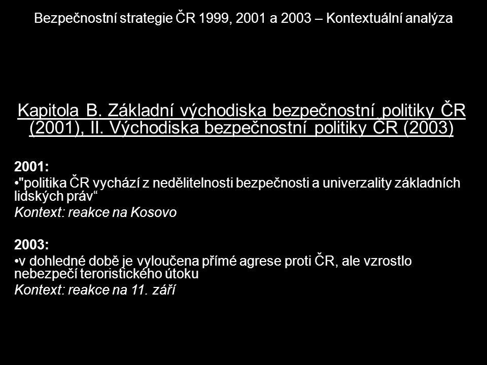 Bezpečnostní strategie ČR 1999, 2001 a 2003 – Kontextuální analýza Kapitola B. Základní východiska bezpečnostní politiky ČR (2001), II. Východiska bez