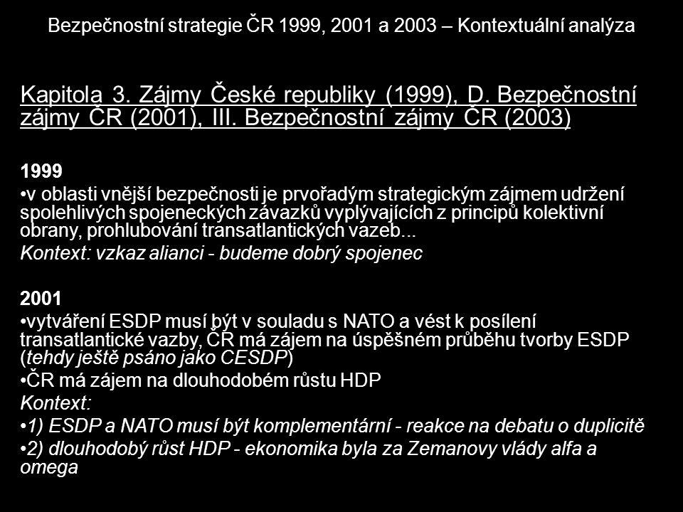 Bezpečnostní strategie ČR 1999, 2001 a 2003 – Kontextuální analýza Kapitola 3. Zájmy České republiky (1999), D. Bezpečnostní zájmy ČR (2001), III. Bez