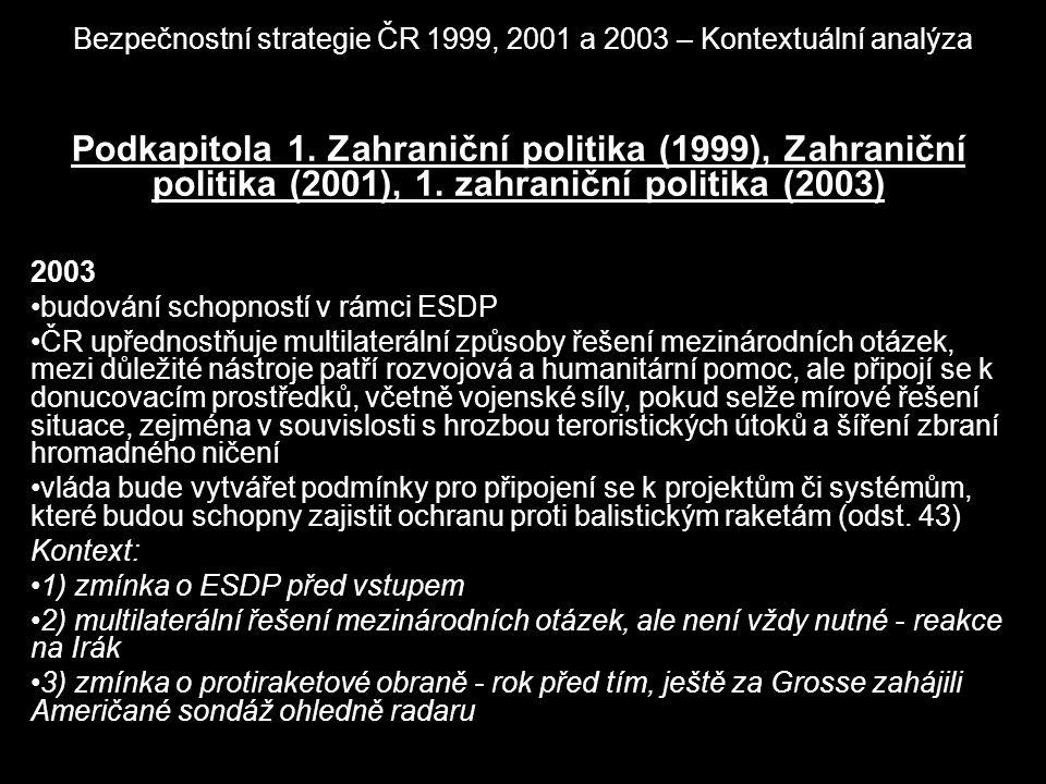 Bezpečnostní strategie ČR 1999, 2001 a 2003 – Kontextuální analýza Podkapitola 1. Zahraniční politika (1999), Zahraniční politika (2001), 1. zahraničn