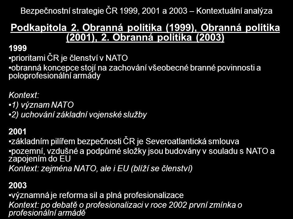 Bezpečnostní strategie ČR 1999, 2001 a 2003 – Kontextuální analýza Podkapitola 2. Obranná politika (1999), Obranná politika (2001), 2. Obranná politik