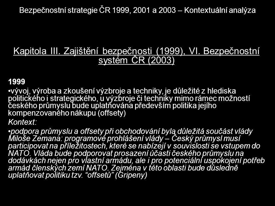 Bezpečnostní strategie ČR 1999, 2001 a 2003 – Kontextuální analýza Kapitola III. Zajištění bezpečnosti (1999), VI. Bezpečnostní systém ČR (2003) 1999