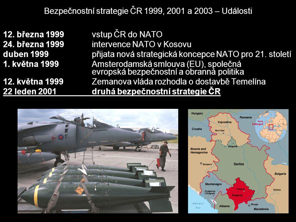 Bezpečnostní strategie ČR 1999, 2001 a 2003 – Události 12. března 1999 vstup ČR do NATO 24. března 1999 intervence NATO v Kosovu duben 1999 přijata no