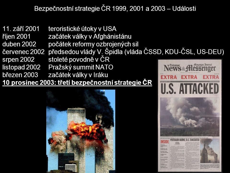 Bezpečnostní strategie ČR 1999, 2001 a 2003 – Obecné informace a přepočet