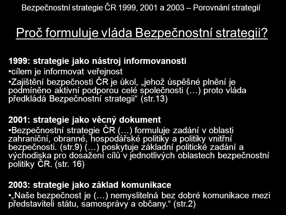 Bezpečnostní strategie ČR 1999, 2001 a 2003 – Porovnání strategií Proč formuluje vláda Bezpečnostní strategii? 1999: strategie jako nástroj informovan