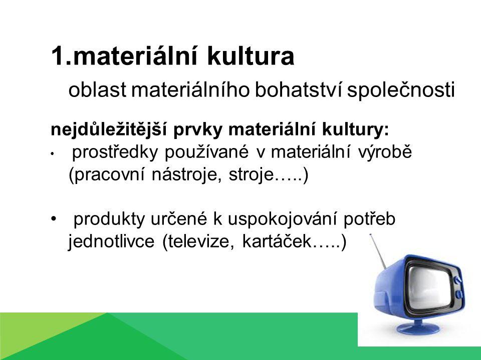 1.materiální kultura oblast materiálního bohatství společnosti nejdůležitější prvky materiální kultury: prostředky používané v materiální výrobě (pracovní nástroje, stroje…..) produkty určené k uspokojování potřeb jednotlivce (televize, kartáček…..)