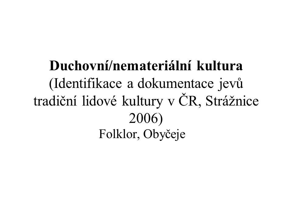 Duchovní/nemateriální kultura (Identifikace a dokumentace jevů tradiční lidové kultury v ČR, Strážnice 2006) Folklor, Obyčeje