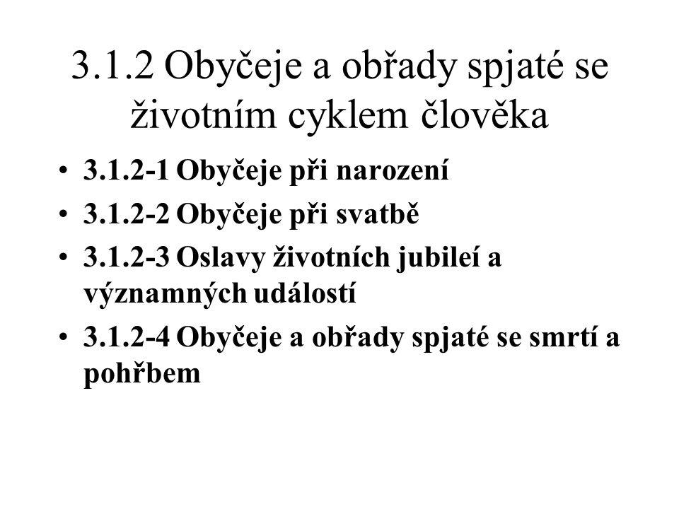 3.1.2 Obyčeje a obřady spjaté se životním cyklem člověka 3.1.2-1 Obyčeje při narození 3.1.2-2 Obyčeje při svatbě 3.1.2-3 Oslavy životních jubileí a významných událostí 3.1.2-4 Obyčeje a obřady spjaté se smrtí a pohřbem