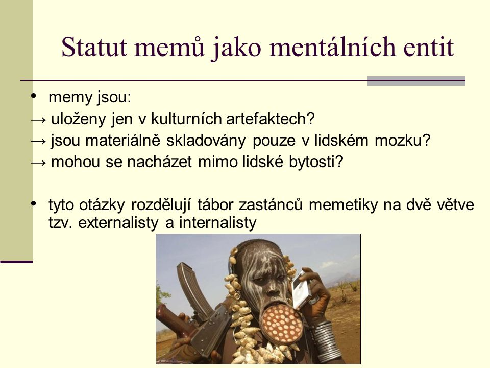 Statut memů jako mentálních entit memy jsou: → uloženy jen v kulturních artefaktech.