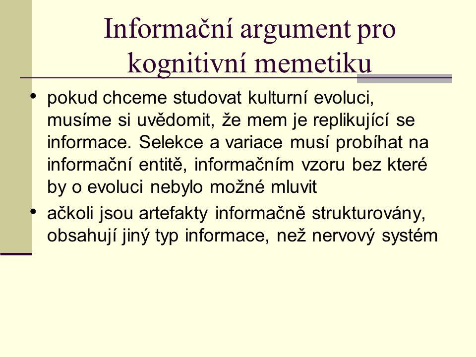 Informační argument pro kognitivní memetiku pokud chceme studovat kulturní evoluci, musíme si uvědomit, že mem je replikující se informace.