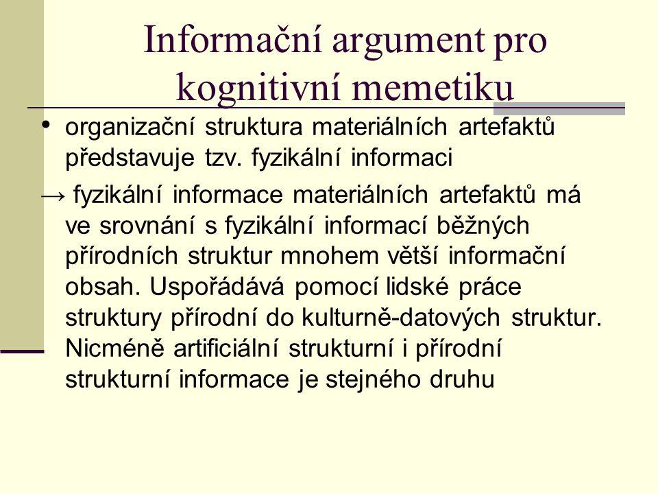 Informační argument pro kognitivní memetiku organizační struktura materiálních artefaktů představuje tzv.