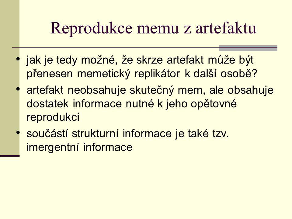 Reprodukce memu z artefaktu jak je tedy možné, že skrze artefakt může být přenesen memetický replikátor k další osobě.