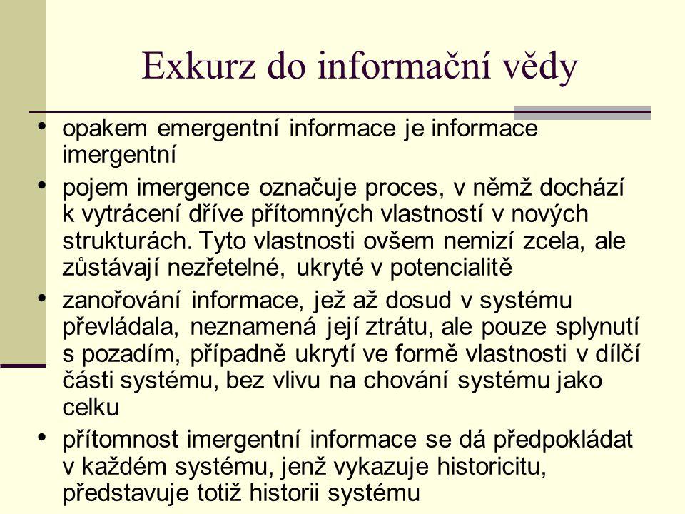 Exkurz do informační vědy opakem emergentní informace je informace imergentní pojem imergence označuje proces, v němž dochází k vytrácení dříve přítomných vlastností v nových strukturách.