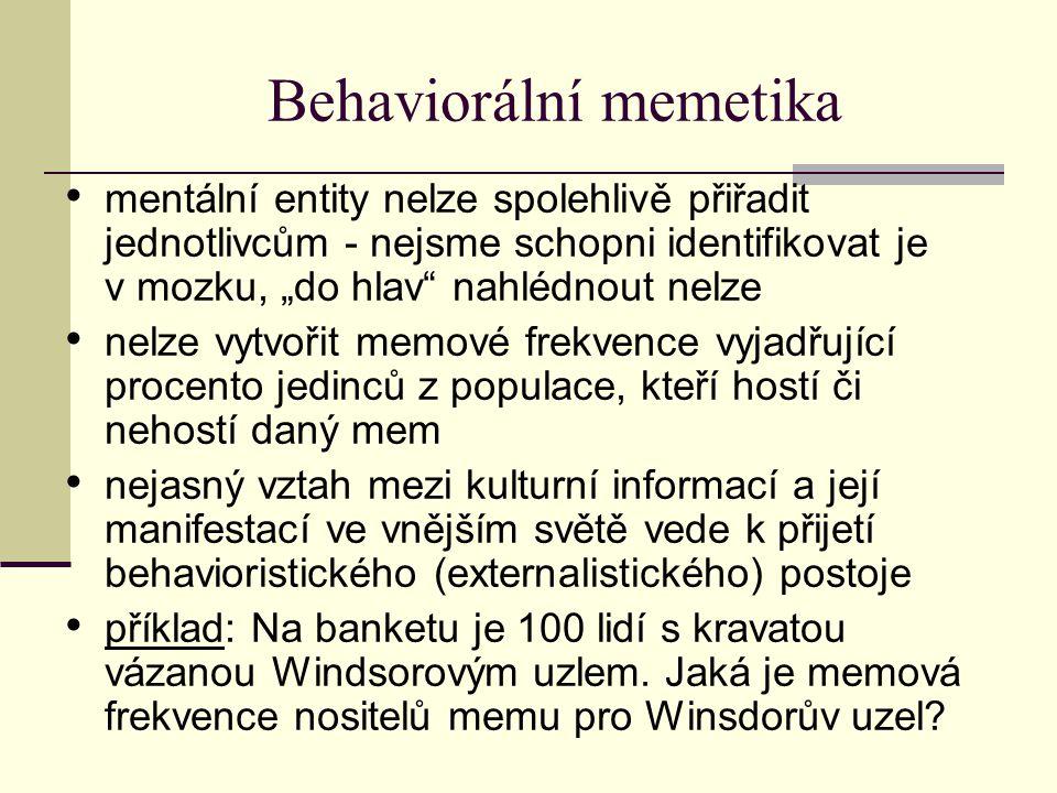 """Behaviorální memetika mentální entity nelze spolehlivě přiřadit jednotlivcům - nejsme schopni identifikovat je v mozku, """"do hlav nahlédnout nelze nelze vytvořit memové frekvence vyjadřující procento jedinců z populace, kteří hostí či nehostí daný mem nejasný vztah mezi kulturní informací a její manifestací ve vnějším světě vede k přijetí behavioristického (externalistického) postoje příklad: Na banketu je 100 lidí s kravatou vázanou Windsorovým uzlem."""