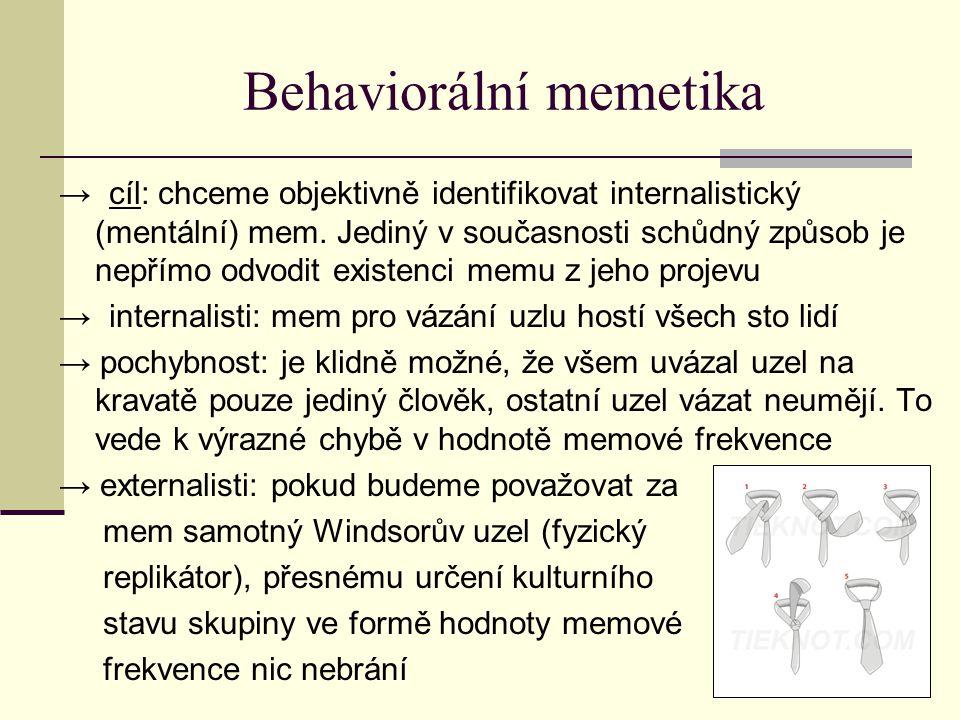 Behaviorální memetika → cíl: chceme objektivně identifikovat internalistický (mentální) mem.