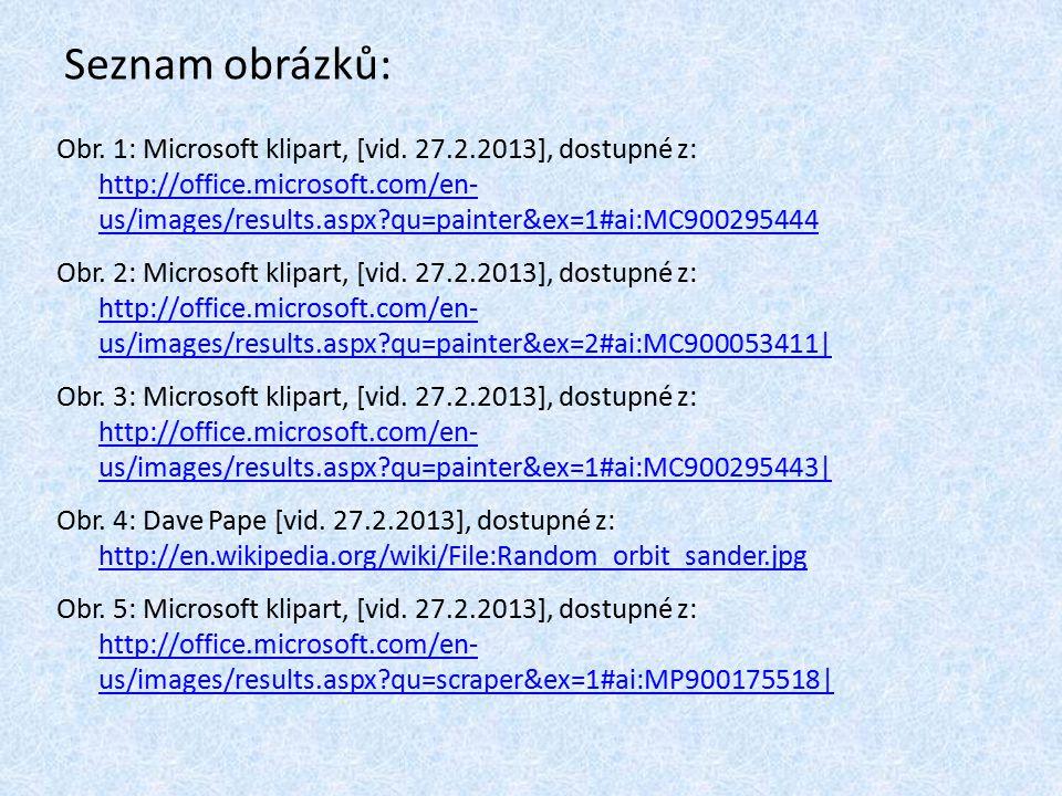 Seznam obrázků: Obr. 1: Microsoft klipart, [vid.
